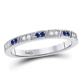 10k White Gold Round Blue Sapphire Diamond Milgrain Stackable Band Ring 1/4 Cttw