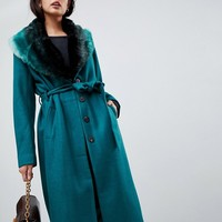 Vila Wool Faux Fur Collar Wrap Coat at asos.com