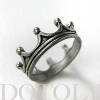 Royal Crown Princess Ring in Silver - Available in sizes 5 and 6   smileswithlove - Jewelry on ArtFire