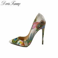 DorisFanny woman shoes 2017 girls sexy high heels printed multi colors stilettos 12-10-8cm wedding shoes