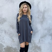 Cold Front Charcoal Grey Fleece Sweater Dress