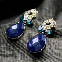 Blue Waterdrop Shiny Earrings