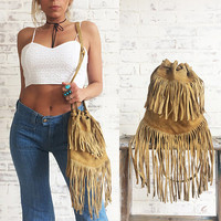 Vintage Rare 1960's 1970's FRINGE Suede Woodstock Drawstring Crossbody Handbag || Hippie Boho Shoulder Bag Purse || Camel Tan Brown ||