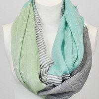 Striped Color Block Scarf - Mint