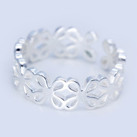 Hollow carver flowers 925 sterling silver opening ring,a perfect gift