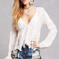 Sheer Floral Embroidered Top