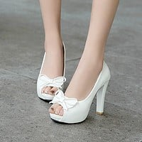 Peep Toe Women Pumps High Heels Thick Heel Platform Shoes Woman