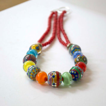 Colorful Necklace, Lampwork Glass Necklace, Polka Dot Necklace, Red Necklace, Beaded Necklace, Short Chunky Necklace, Statement Necklace