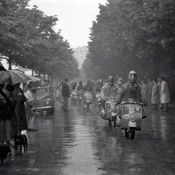 Vespa Scooter Don't Rain On My Parade 1959 Reproduction Photograph 8x10 inch VR-4