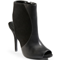 Schutz Quazar Leather and Suede Peep Toe Ankle Boots