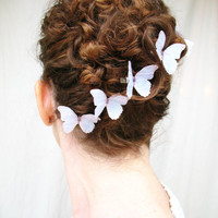a thousand whispers . five white watercolor pure silk butterfly hair clips