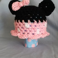 Infant Minnie Mouse Inspired hat (Crochet, Bow, Polka Dot, Black, Pink Mickey, baby)