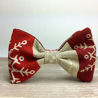 Bow Tie by BartekDesign: pre tied red christmas snow ornaments xmass joy december print beige gift for her him fun