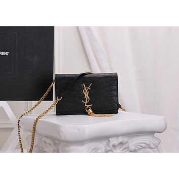 YSL SAINT LAURENT WOMEN'S LEATHER TASSEL CHAIN SHOULDER BAG