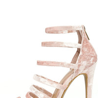 Ainsley Blush Velvet Caged Heels