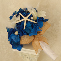 Hydrangea Wedding Bouquet- Starfish Bouquet- Seashell Wedding Accessory- Nautical Blue White Bouquet- Made to Order