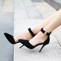 Decorate Pointed Toe Ankle Wrap Stiletto High Heels Party Shoes