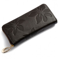 Engraved Floral Pattern Zip Leather Wallet