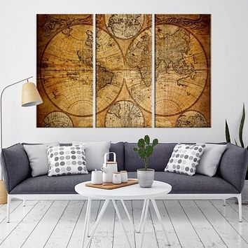 50258 Large Wall Art Antique World Map Canvas Print Atlas World Map Wall Art Print
