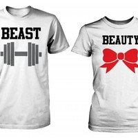 Beauty and the Beast - Cute His and Her Matching White T-Shirts for Couples