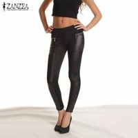 Slim Fitted Pants Elastic Waist PU Leather Patchwork Strech