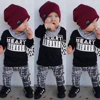 Cute Newborn Baby Boys Kids T-shirt Top+Long Pants 2PCS Outfit Clothes Set