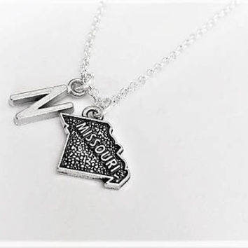 Best Friend necklace, Missouri necklace, friendship jewelry, initial necklace, state charm, gift for her sister necklace no matter where