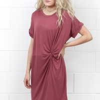 Knot Your T-Shirt Dress {Raspberry}