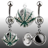 """14g Dangling Pot Leaf Locket Sexy Belly Button Navel Ring Dangle Body Jewelry Piercing with Clear Cz and Surgical Steel Bar 14 Gauge 3/8"""" Nemesis Body JewelryTM"""