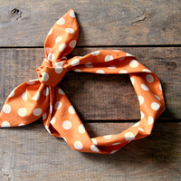 orange and white polka dot headscarf / halloween / tie up headband / adjustable / summer and fall fashion / knotted headband