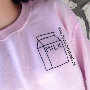 MILK CARTON Tumblr Aesthetic Embroidered Pink Crewneck Sweatshirt (Made To Order)