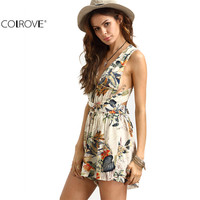COLROVE Women  Apricot Floral Print Knotted Infinity  Sleeveless  Halter Plunge Deep V Neck Backless Criss Cross Back Romper