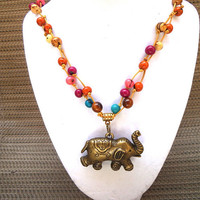 Multi-Color Multi-Strand Long Acai Seed Necklace with Elephant Pendant, Vegan Vegetarian, Eco-Friendly, Nature-Inspired, Boho-Chic