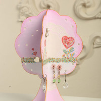 Free Shipping Earring Holder Tree Jewellery Organizer Holder Jewelry Display Shabby Chic Style / Pink love