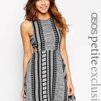 ASOS PETITE Dress with Cut Out in Mono Festival Print