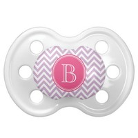 Lilac Purple and Pink Chevron with Custom Monogram Baby Pacifiers from Zazzle.com