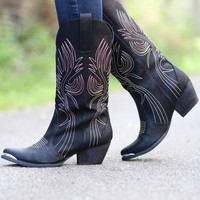 Very Volatile: Railroad Cowgirl Boot {Black}