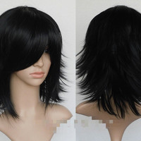 Women Long black wave curly human hair Party Full Wigs