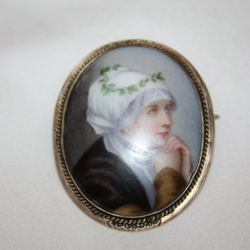 Vintage Portrait Brooch, 10kt GF Cameo Brooch, Antique Lapel Pin, Victorian Peasant Brooch, Vintage Jewelry