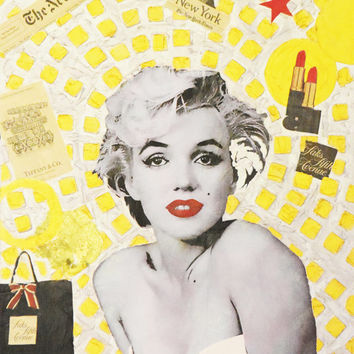 """ART Marilyn Monroe Portrait Mixed Media on Panel Acrylic Painting Gold & Colors Collections Modern 20""""x26"""" By Kathleen Artist PRO"""