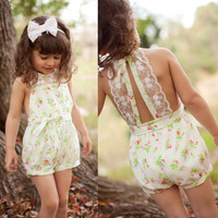 Pretty Girls Floral Playsuit One-piece Kids Baby Romper Shorts Lace Clothes 2-7Y