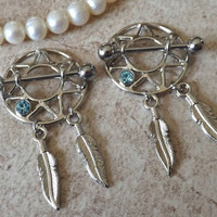 Nipple Ring Sheild Dream Catchers with Feather Nipple Piercing PAIR