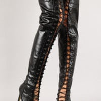 Women's Leatherette Lace Up Thigh High Boot