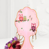 "Free Shipping Gift for friend Earring Display Jewelry Stand Jewelry Organizer ""Happy Owl"""