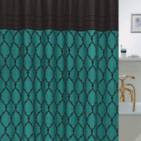 """Chainlinks Flocked Faux Silk Shower Curtain with Roller Hooks (70"""" x 72"""") - Teal"""