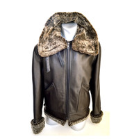B-1 BOMBER LEATHER Motorcycle JACKET with Face Protector Shear-ling - V22la