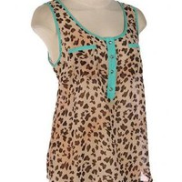 Leopard Sleeveless Top with Mint Green Lining
