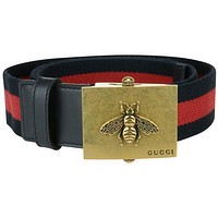 Gucci Canvas Blue/Red Web belt with bee buckle