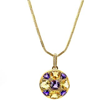 Round Amethyst Citrine Diamond Pendant 22k Gold Necklace