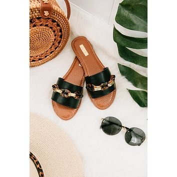 Caught Your Attention Chain Slip On Sandals (Black)